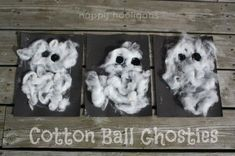 cotton ball ghosties - easy halloween craft for toddlers.  Some great sensory and fine motor stuff going on here.