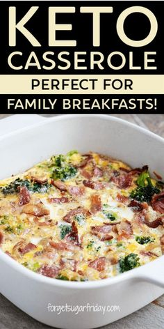 Keto Breakfast Casserole with Bacon & 6 More Easy Recipes! – Looking for a keto… Keto Breakfast Casserole with Bacon & 6 More Easy Recipes! – Looking for a keto breakfast your whole family will love? Try this insanely delicious Keto Bacon Ch – Breakfast Party, Breakfast Hotel, Bacon Breakfast, Breakfast Ideas, Healthy Low Carb Breakfast, Low Carb Breakfast Casserole, Ketogenic Breakfast, Breakfast Cups, Diabetic Breakfast