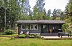 Wooden summer cottage in Little Cabin, Little Houses, Style At Home, Tyni House, Contemporary Cabin, Decoration Inspiration, Tiny House Design, Cozy Cottage, Black House