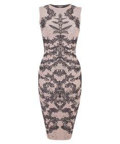 ALEXANDER MCQUEEN - Bi-Colour Spine Lace Jacquard Pencil Dress ($1,395.00) Description: Black and flesh pink spine lace jacquard pencil dress. / Product Code:294327 Q1VMK 9979