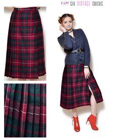 plaid Skirt vintage high waisted women clothing midi pleated skirt 80s clothing maroon skirt boho chic wool skirt Retro bohemian tartan S/M by SixVintageChicks on Etsy