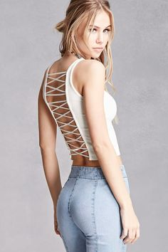 A ribbed knit crop top by Kikiriki™ featuring a lace-up back, scoop neckline, sleeveless cut, and a raw-cut hem. Fashion Models, Girl Fashion, Womens Fashion, Scarlett Leithold, Sexy Jeans, Feminine Style, Forever 21, Shop Forever, Gorgeous Women