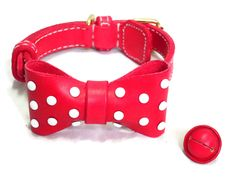 White dot bow-tie collar, for both dog and cat. Dog collar, cat collar, leather dog collar, bow-tie dog collar, bow-tie cat collar