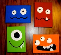 Monsters 5x7 Canvas Set (4 piece) by DesignsbyNikilee for $40.00