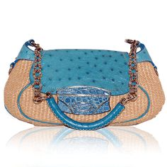 Prada Turquoise Ostrich & Raffia Bag  http://www.consignofthetimes.com/product_details.asp?galleryid=6446