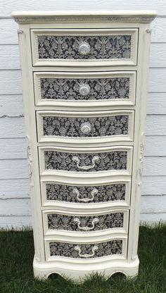 Refurbished Dresser/Accent Chest Black & White $375.00 by Vintage303Designs on Etsy.com