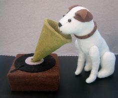 "RESERVED LISTING for Danielle - ""His Master's Voice"" made of felt, dog Nipper made of felt, soft sculpture"