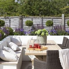 Built-in garden seating is a great option if you don't want to take furniture in and out of storage during the year