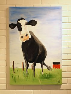Cow Painting 24x36 by LoganBerard on Etsy