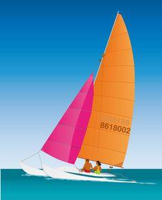 Catamaran sailing design featuring some people sailing in the open sea. Sailboat Art, Nautical Art, Sailboats, Boat Illustration, Full Sail, Painting Lessons, Art Deco, Free Vector Graphics, Lake Life
