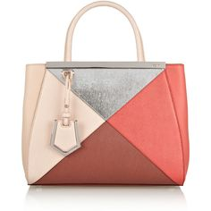Fendi 2Jours small color-block textured-leather shopper found on Polyvore