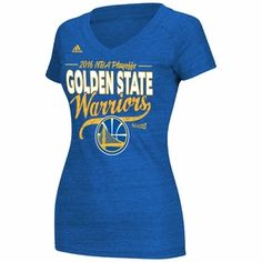 e319f42ab17 Golden State Warriors adidas Women s 2016 NBA Playoffs Stack Short Sleeve  V-neck Tee -