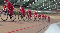 Now that's the spirit!    RELATED: Bikes and Beards - Should You Grow For 2016? - http://www.bikeroar.com/articles/bikes-and-beards-should-you-grow-for-2016.   #santa #velodrome #track #cycling #christmas #cheer #aero #beard