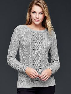 Cable knit pullover sweater Product Image