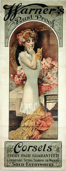 ❤ - Alphonse Mucha | Poster advertising 'Warner's Rust Proof Corsets' - 1909.