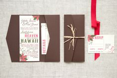 Hawaiian wedding invite, love the folio with the raffia. Wedding Prep, Wedding Planning, Dream Wedding, Wedding Dreams, Wedding Stuff, Boarding Pass Invitation, Invitation Suite, Custom Invitations, Beach Theme Wedding Invitations