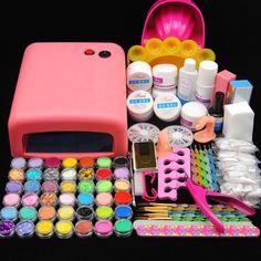 Pro 36W UV Lamp Light Cure Dryer Gel Polish Nail Art Tips File Glitter Kit Set #Unbranded