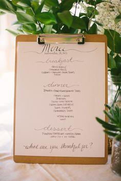 hand-lettered menu Diy Menu Cards, Grits Breakfast, Turkey Gravy, Hosting Thanksgiving, Pumpkin Cheesecake, Food Presentation, Green Beans, Hand Lettering, Originals
