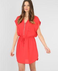Soepel vallende jurk met rits rood