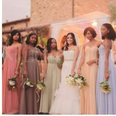 Multi-colored bridesmaids dresses