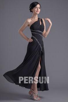 Sexy robe de cocktail noire avec fente latérale ornée de paillettes à une épaule – Persun.fr