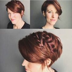 Idea for braid/updo while growing out my pixie. Fall Wedding Hairstyles, Fancy Hairstyles, Pixie Hairstyles, Pixie Updo, Pixie Braids, Growing Out Pixie Cut, Grown Out Pixie, Short Sassy Hair, Short Hair Updo