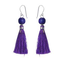 Silvesto India wood purple tassel 925 sterling silver hook dangling earrings for girls pg-4609   https://www.amazon.de/dp/B01ID196SO