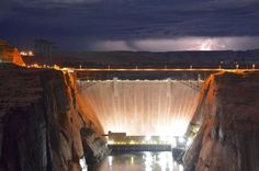 Electricity is in the air at Glen Canyon! Although the Glen Canyon Dam produces hydroelectric power around the clock, an early morning thunderstorm really cranked up the voltage last month. Glen Canyon Dam, Water Supplier, Hydroelectric Power, Science Photos, Colorado River, Photos Of The Week, Nature Pictures, Outdoor Activities, David Bailey
