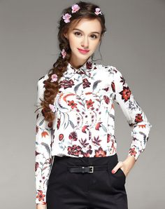#AdoreWe #VIPme Blouses & Shirts - TOO TANG Silk Red Floral Long Sleeve Dress Shirt - AdoreWe.com
