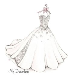 Sketch of Wedding Dress & Suit. Paper Anniversary Gifts For Her, Wedding Gifts From Groom To Bride, Bridal Shower Gift. Click here to see more:  http://www.mydreamlines.com/how-it-works/photo-gallery/