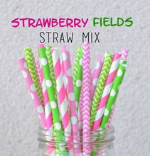 100pcs Mixed Colors Strawberry Fields Pink and Green Paper Straws,Birthday Party, Weddings, Baby Shower(China (Mainland))