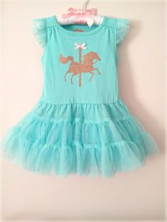 Size 2T. Mint Green / Aqua tulle Tutu Dress with Gold Glitter Carousel Horse and bow.  Baby girl, toddler.  LIMITED QUANTITIES! on Etsy, $29.99