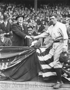 Vintage 1923, President Warren G. Harding and Babe Ruth at Yankee Stadium, NYC, www.RevWill.com