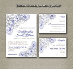 DIY Printable Wedding Invitation PDF Set - Navy Blue Daisies on White Floral Pattern on Etsy, $18.00