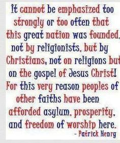 Don't let anyone tell you that the USA wasn't founded on Christian principles!