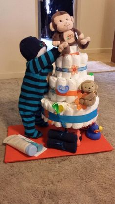 """Boy"" Diaper Cake for Baby Shower. - TJ'S Designs"