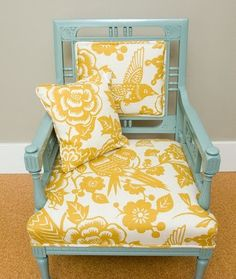 Your sunroom...leave current wall color...with a chair and other accents like this