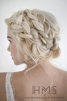 braided updo.. Veil underneath. Would definitely need extensions just for the braids