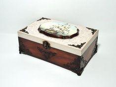 Big Hand Decorated Box, Antique Jewelry Box, Distressed Light Cinnamon Box, Trinket Box, Brown Cigar Box, hand painted box, Ship Box This box can