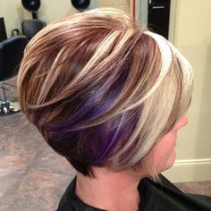 Unique short hairstyle colors for your hair Hair color is as important as your hair and if you want to achieve a new stylish look for your hair, you should Line Bob Haircut, Haircut And Color, Stacked Bob Hairstyles, Cute Hairstyles, Short Haircuts, Medium Hairstyles, Hairstyle Ideas, Hairstyles 2018, Pixie Hairstyles