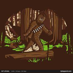 Sasquatch Chewbacca T Shirt. The Wookiee portrayed as Bigfoot, walking through the forest of Endor. Awesome Star Wars T shirt. Star Wars Tshirt, Star Wars Humor, Far Away, Dark Side, Funny Tshirts, Nerdy Shirts, Tee Shirts, Art Prints, Thanks