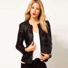 Fashion Sequins Long Sleeve Slim Fit Coat