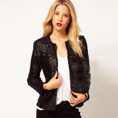 Fashion Sequins Long Sleeve Slim Fit Coat