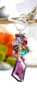Multi coloured Swarovski Crystals De-Art Pendant, finished with Sterling Silver.