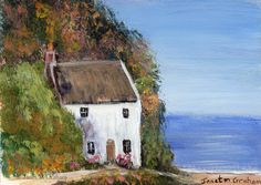 Cottage by the Sea ACEO Seascape Original Landscape ACEO acrylic painting