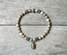 """Bracelet perles de Jaspe, pendentif Bouddha couleur bronze et perles en bois de Roblès - Bracelet lithothérapie """"Equilibre et Sérénité"""" : Bracelet par joaty"""