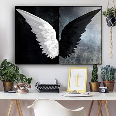 Black and White Powerful Feather Wings Canvas Painting Scandinavian Posters and Prints Nordic Wall Art Picture for Living Room Canvas Painting Tutorials, Diy Canvas Art, Canvas Wall Art, Canvas Art Prints, Framed Art Prints, Black And White Wall Art, Black And White Painting, Black Canvas Paintings, Painting On Black Canvas