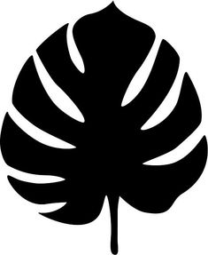 Moldes de folhas tipo Costela-de-Adão - Festa tropical | Hawaiian Flower Drawing, Lotus Flower Art, Silhouette Cameo, Leaf Silhouette, Leaf Stencil, Stencil Painting, Leaf Template Printable, Owl Templates, Heart Template