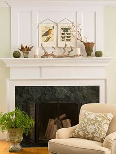 "The dictionary defines symmetry as ""beauty of form arising from harmonious proportions."" We call it a can't-miss mantel strategy. Start with a large object in the center (here, driftwood), then place pairs of objects on either side. They don't have to be identical, just related. For example, two different terra-cotta pots still look like they belong together. Symmetry doesn't have to mean stiff -- the organic shapes of branches and seedpods keep this arrangement casual."