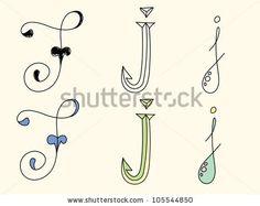 Doodle hand drawn alphabet in pastel tints : letter J by Radiocat, via ShutterStock